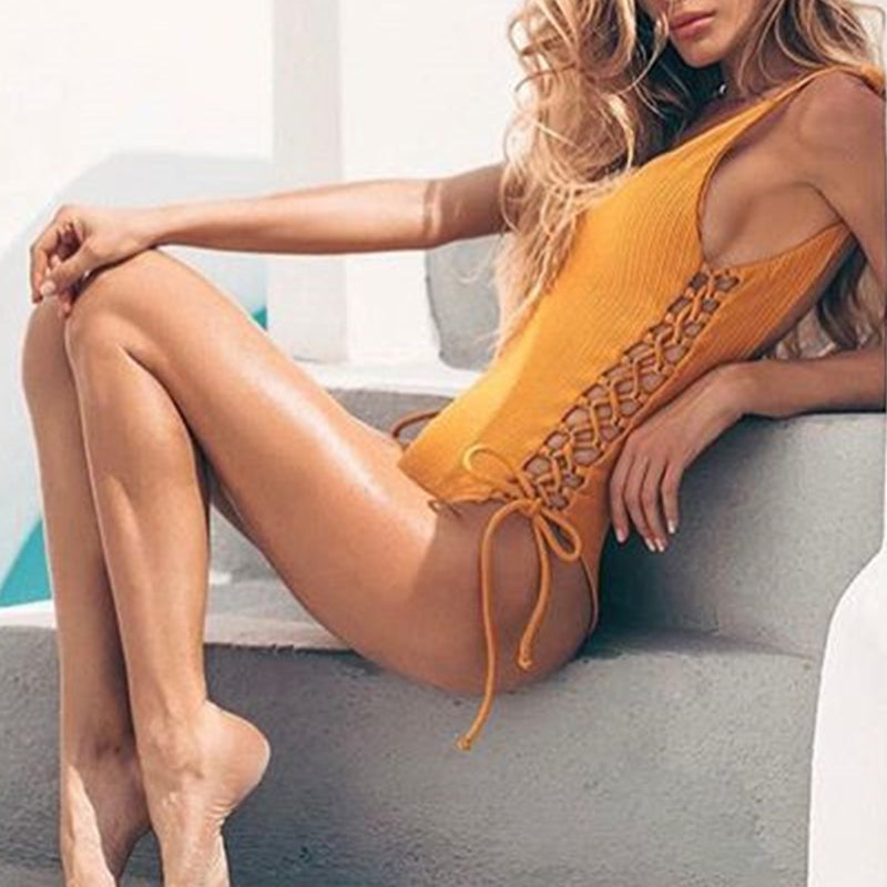 Yellow Lace Up One Piece Swimsuit