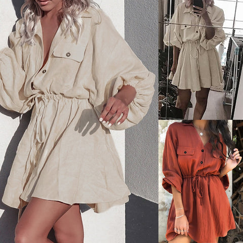 Women Belt Beach Linen Dress