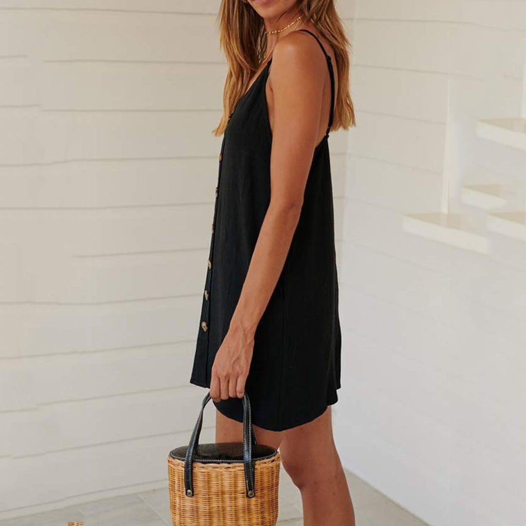 Casual Button V-neck Sling Sleeveless Mini Beach Dress