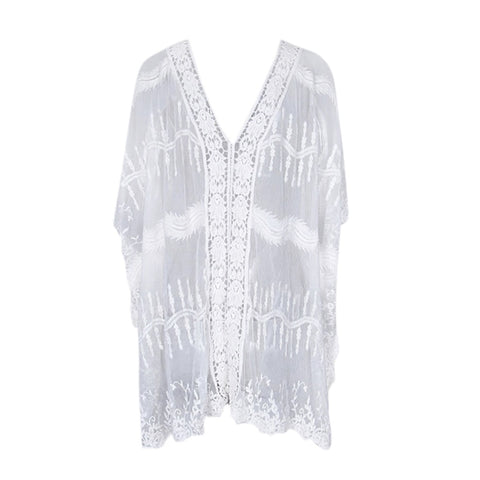 Women's Hollow Kimono Cardigan Swimsuit Cover Up