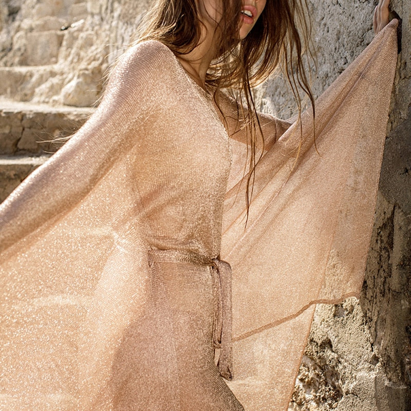 See Though Gossamer Beach Cover Up Long Beach Dress Gold Tunic Kimono