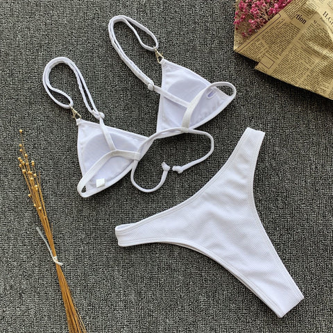 Women Solid White Push Up Brazilian Beach Bathing Suit
