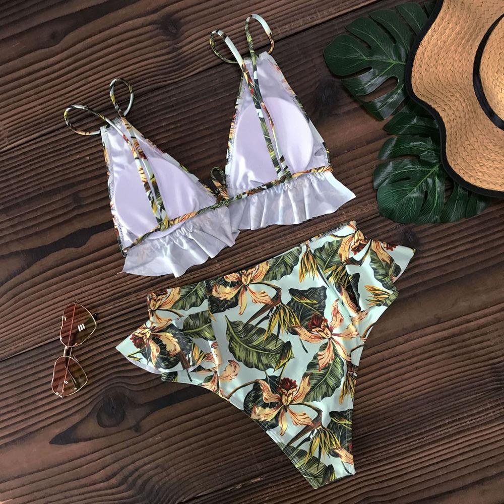 Women Push-up Padded Bra Floral Bikini Set Swimsuit