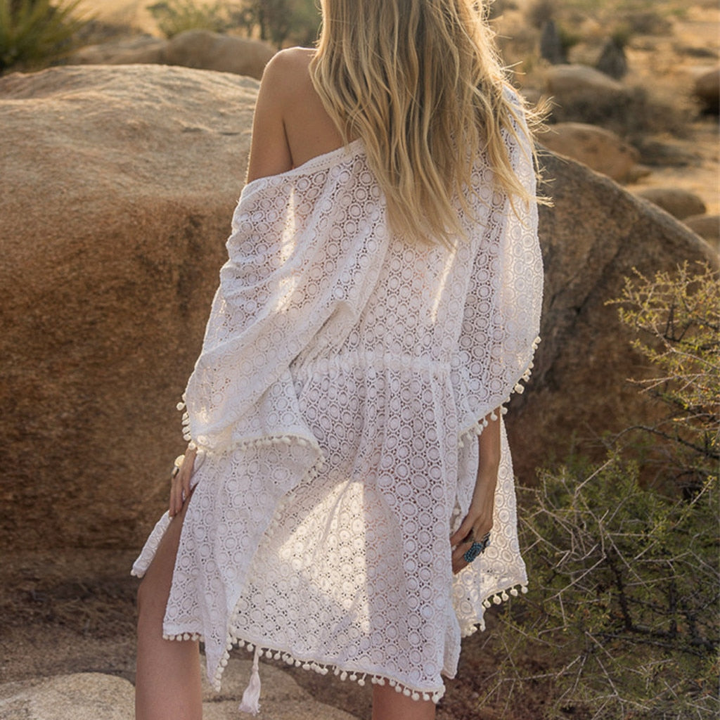 Beachwear Tunic Beach Dress Lace Hollow Crochet Bikini Cover Up