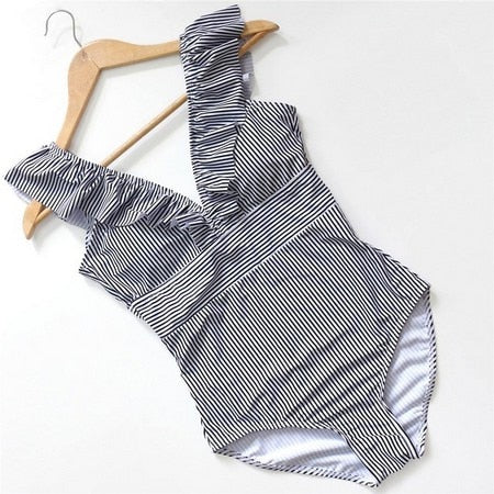 Ruffles Striped One-Piece Swimwear