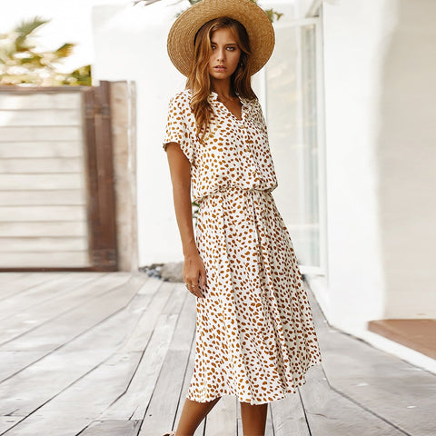 Dots Print Short Sleeve Tunic Vintage Midi Beach Dress