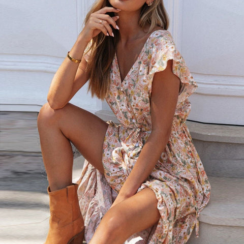 Boho Button Up Split Beach Party Dress