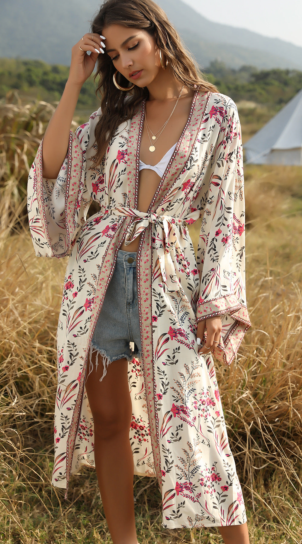 Women's Boho Bandage Bikini Bathing Cover Up Bohemian Print