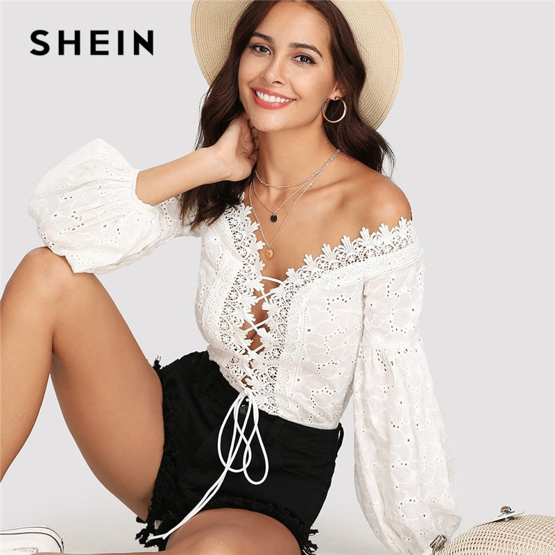 SHEIN Lace Trim Plunge Neck Eyelet Embroidered Bodysuit