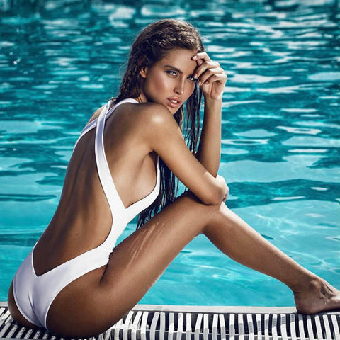Cross Back Bandage One Piece Padded Swimsuit