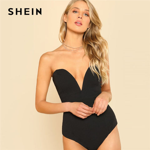 SHEIN Sexy Sweetheart Bustier Bodysuit Sleeveless Backless Plain Rompers With Lining