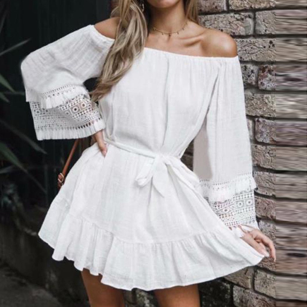 ISHOWTIENDA Cover Up Swimwear Beach Wear Off Long Sleeve Blouse Dress