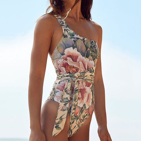 Bandage One shoulder Floral Print Swimsuit