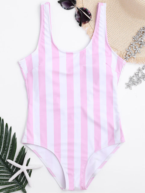 Pink & Blue Striped One-Piece Swimsuit