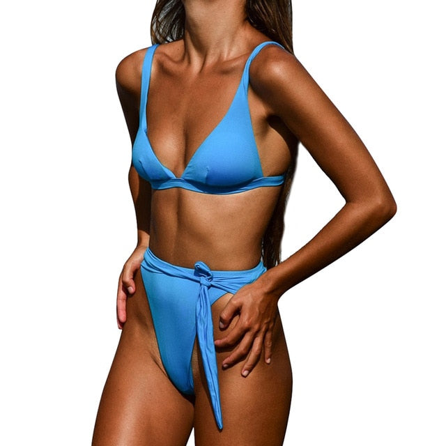 Push Up Padded Bikini Set High Waist - Two piece Swimwear