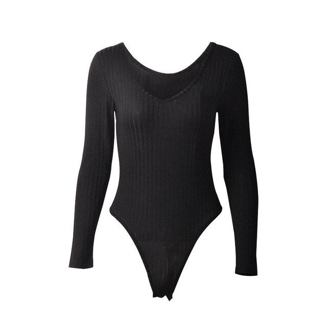 Casual V-Neck Stretchy Long Sleeve Bodysuit