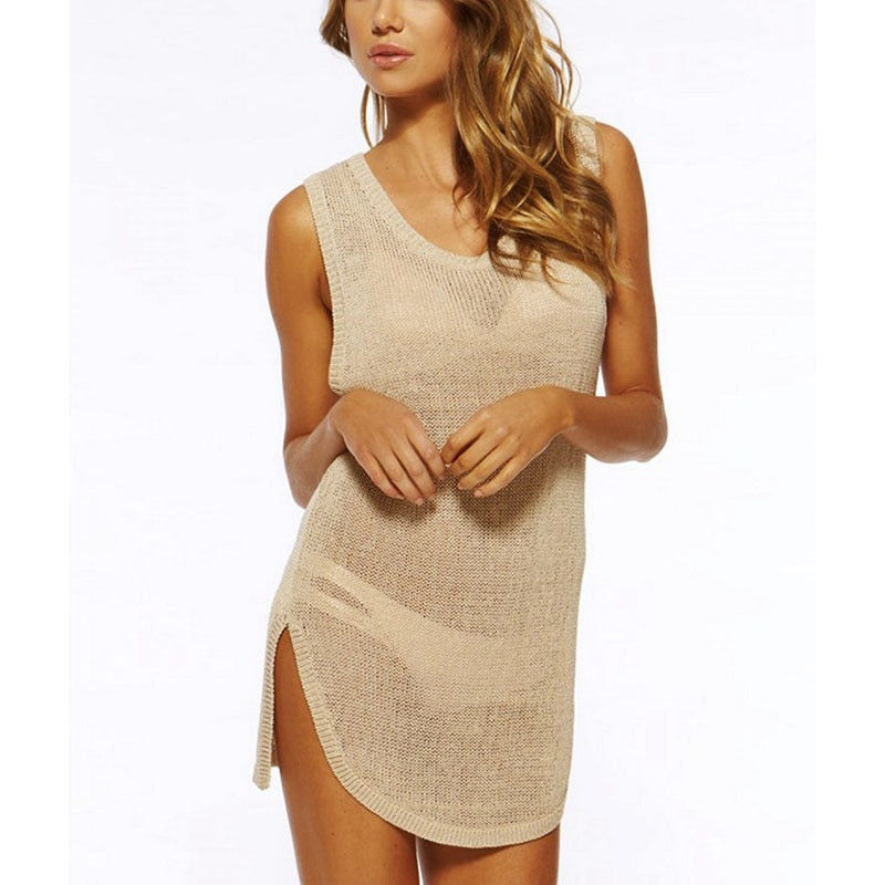 Vertvie Mesh Knitted Tunic Beach Dress Crochet Bikini Cover up Swimwear