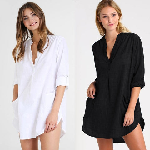 Women Beach Cover Up Long Sleeve Dress Tunic