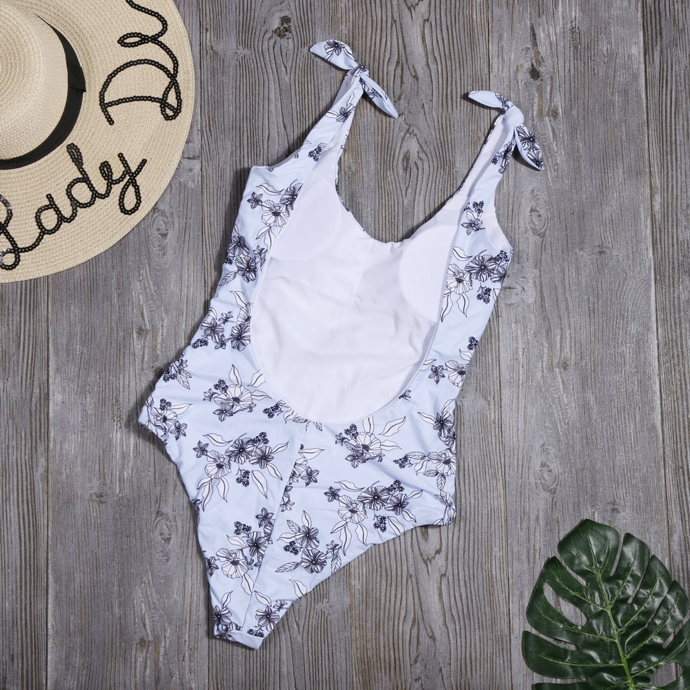 Floral Backless One Piece Swimsuit