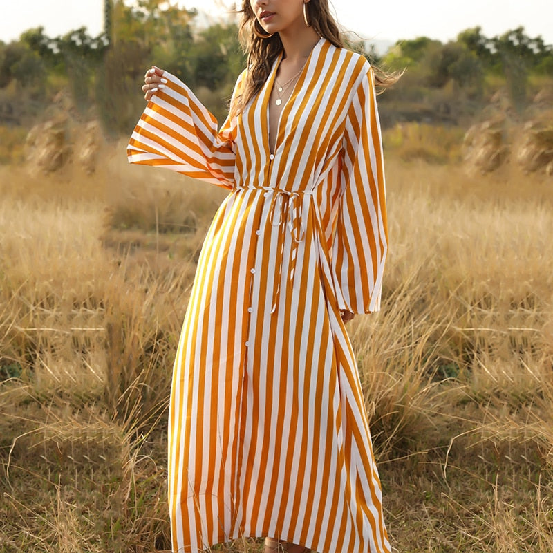 Striped Maxi Tunic Cover-Up