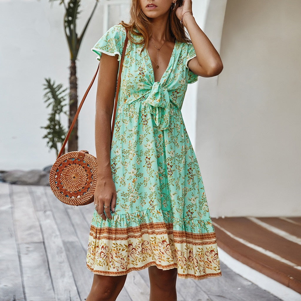 Women V-Neck Summer Casual Mini Floral Printed Dress