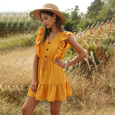 Sweet High Waist Party V Neck Ruffles Casual Boho Beach Dress