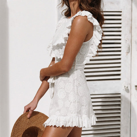 Women's Summer White Lace Ruffles Mini Dress