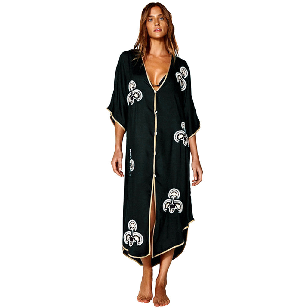 Women Printed Kimono Cardigan Swimsuit Cover Up