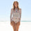 Retro One Piece Surfing Swimsuit Long Sleeve Floral Swimwear
