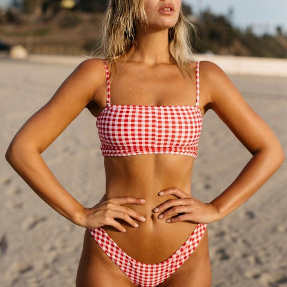 Women's Plaid Bikini Set Swimsuit Two Piece