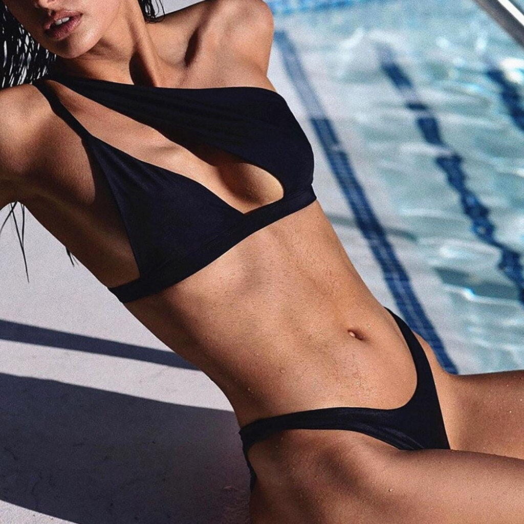 One-shoulder Hollow Out Bikini Set Push Up Swimsuit