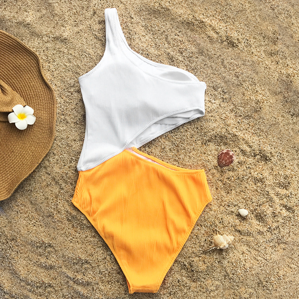 CUPSHE One Shoulder Cut Out One-piece Swimsuit Women Beach Solid Bathing Suit Swimwear 2020 Girl Plain Swimsuits