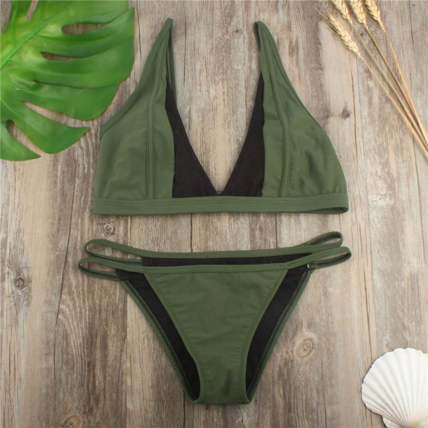 Women Green Bikini Set Push-up Padded Bra Swimsuit