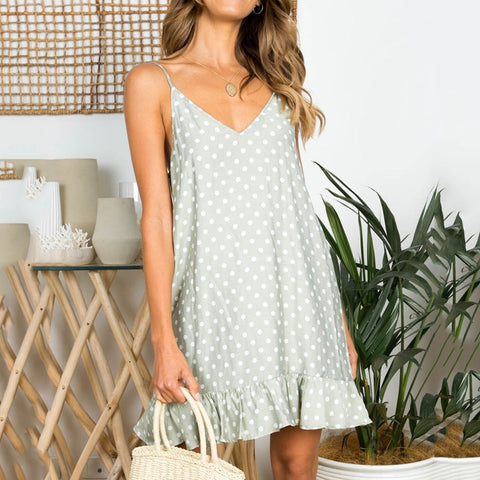 Sling Dot Printed Ruffled Hem Loose Mini Beach Dress