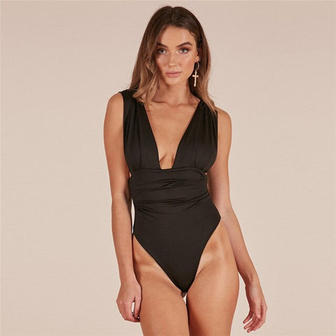 Adogirl Sexy Bodysuit Deep V Neck Backless