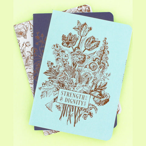 Set of 3 'Strength & Dignity' Notebooks - Bella Faith - Christian Shirts for Women - Women's Faith Based Apparel - Christian Clothing for Women - Christian Jewelry and Gifts for Women - Trendy Christian Tees