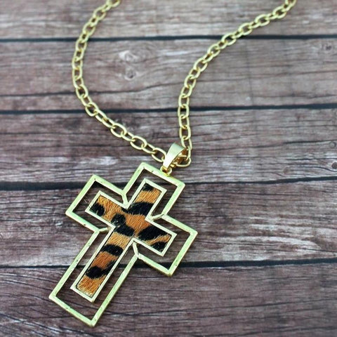 Leopard Cross Pendant Necklace - Bella Faith - Christian Shirts for Women - Women's Faith Based Apparel - Christian Clothing for Women - Christian Jewelry and Gifts for Women - Trendy Christian Tees