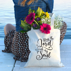 Bless the Lord Oh My Soul Tote Bag - Bella Faith - Christian Shirts for Women - Women's Faith Based Apparel - Christian Clothing for Women - Christian Jewelry and Gifts for Women - Trendy Christian Tees
