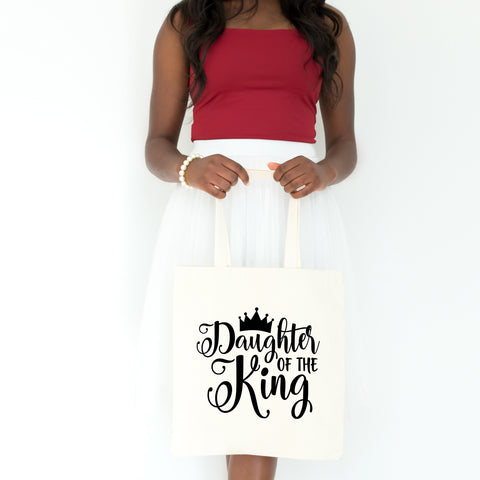 Daughter of the King Tote Bag - Bella Faith - Christian Shirts for Women - Women's Faith Based Apparel - Christian Clothing for Women - Christian Jewelry and Gifts for Women - Trendy Christian Tees