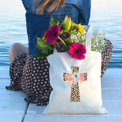 Floral Leopard Cross Tote Bag - Bella Faith - Christian Shirts for Women - Women's Faith Based Apparel - Christian Clothing for Women - Christian Jewelry and Gifts for Women - Trendy Christian Tees