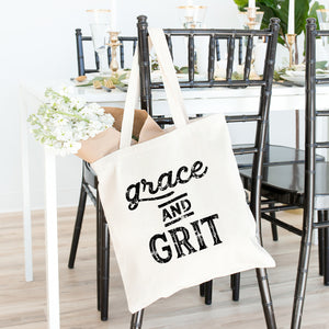 Grace and Grit Tote Bag - Bella Faith - Christian Shirts for Women - Women's Faith Based Apparel - Christian Clothing for Women - Christian Jewelry and Gifts for Women - Trendy Christian Tees