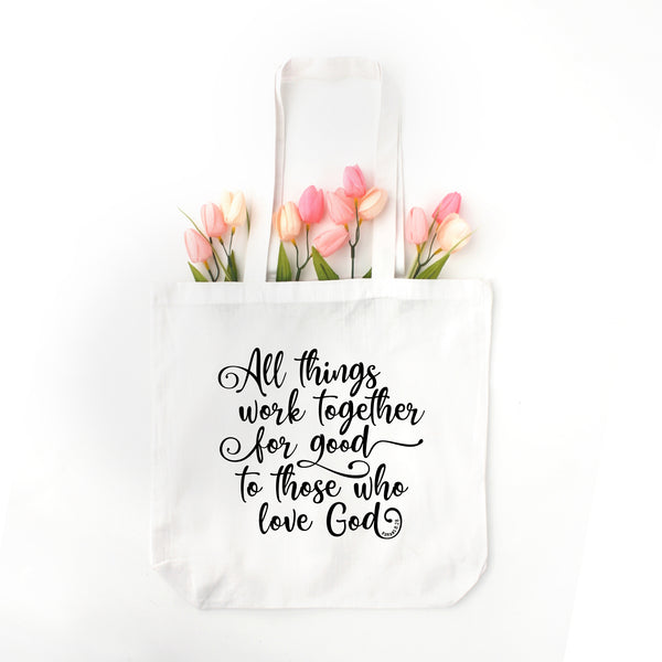 Romans 8:28 Tote Bag - Bella Faith - Christian Shirts for Women - Women's Faith Based Apparel - Christian Clothing for Women - Christian Jewelry and Gifts for Women - Trendy Christian Tees