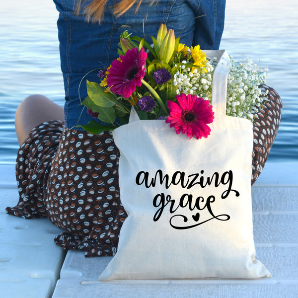 Amazing Grace Tote Bag - Bella Faith - Christian Shirts for Women - Women's Faith Based Apparel - Christian Clothing for Women - Christian Jewelry and Gifts for Women - Trendy Christian Tees