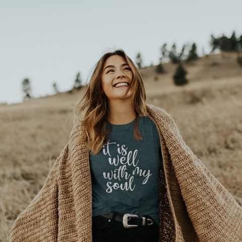 It Is Well With My Soul Short Sleeve Shirt - Bella Faith - Christian Shirts for Women - Women's Faith Based Apparel - Christian Clothing for Women - Christian Jewelry and Gifts for Women - Trendy Christian Tees