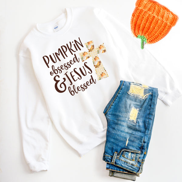 Pumpkin Obsessed & Jesus Blessed Sweatshirt - Bella Faith - Christian Shirts for Women - Women's Faith Based Apparel - Christian Clothing for Women - Christian Jewelry and Gifts for Women - Trendy Christian Tees