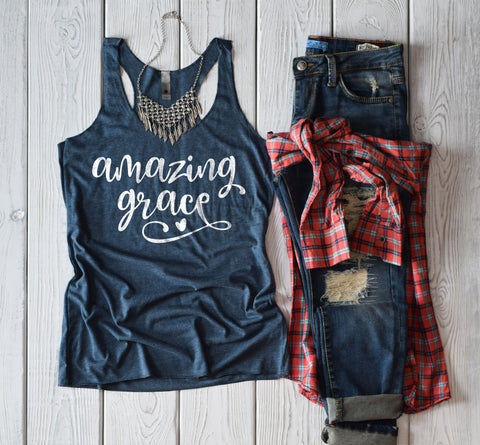 Amazing Grace Racerback Tank Top - Bella Faith - Christian Shirts for Women - Women's Faith Based Apparel - Christian Clothing for Women - Christian Jewelry and Gifts for Women - Trendy Christian Tees