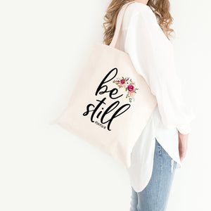 Be Still Tote Bag - Bella Faith - Christian Shirts for Women - Women's Faith Based Apparel - Christian Clothing for Women - Christian Jewelry and Gifts for Women - Trendy Christian Tees