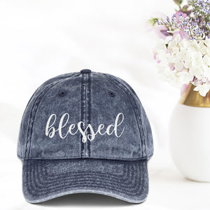 Blessed Vintage Hat - Bella Faith - Christian Shirts for Women - Women's Faith Based Apparel - Christian Clothing for Women - Christian Jewelry and Gifts for Women - Trendy Christian Tees