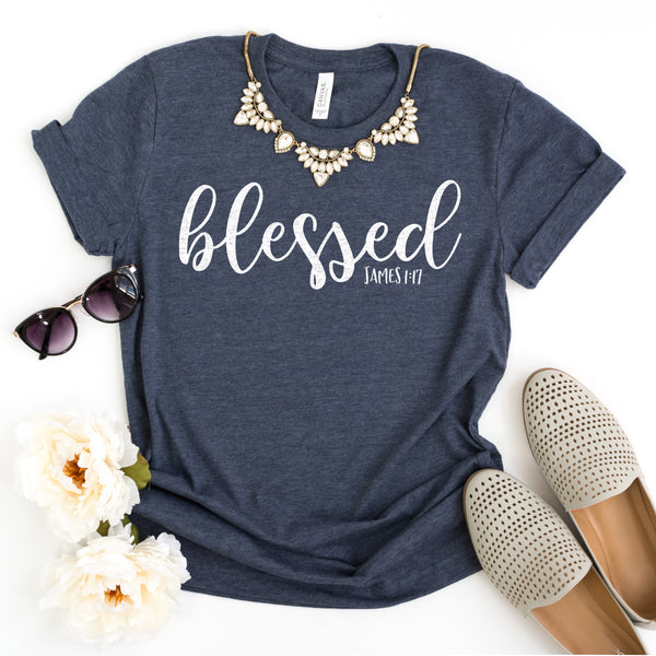 Blessed Short Sleeve Shirt - Bella Faith - Christian Shirts for Women - Women's Faith Based Apparel - Christian Clothing for Women - Christian Jewelry and Gifts for Women - Trendy Christian Tees