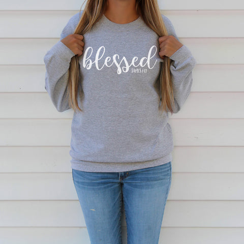 Blessed Sweatshirt - Bella Faith - Christian Shirts for Women - Women's Faith Based Apparel - Christian Clothing for Women - Christian Jewelry and Gifts for Women - Trendy Christian Tees